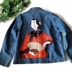 Chico's Asian Woman rare embroidered jean jacket